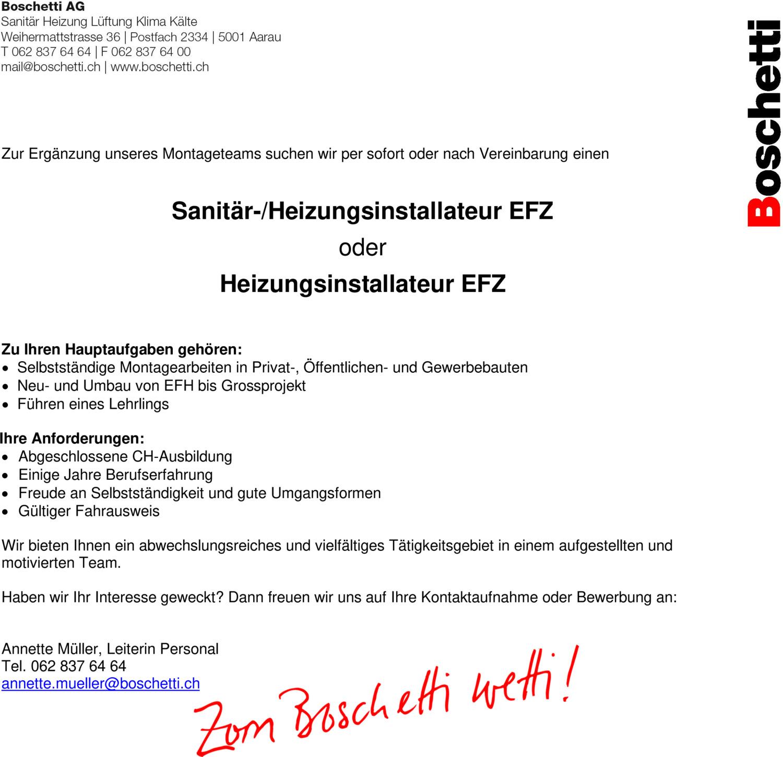 Inserat Sanitär-/Heizungsinstallateur EFZ
